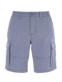 Mens Dark Blue Striped Cargo Shorts