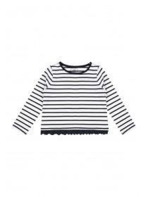 Younger Girls Striped Lace T-Shirt