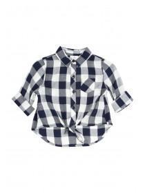 Younger Girls Dark Blue Woven Gingham Shirt