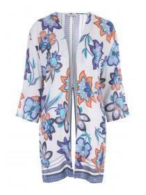 Womens Blue Split Back Kimono