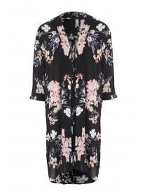 Womens Black Side Split Kimono