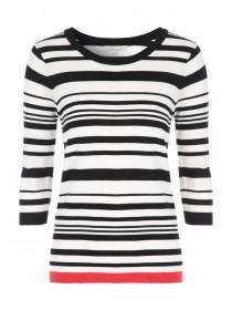 Womens Black 3/4 Tipped Striped Jumper
