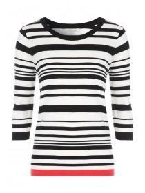 Womens Black 3/4 Tipped Striped Jumper