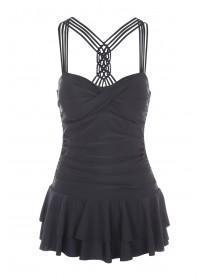 Womens Black Macrame Back Swimdress