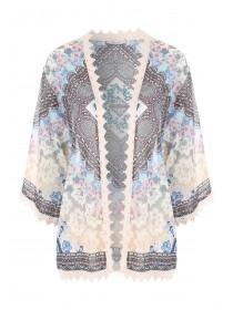 Womens Pale Pink Georgette Kimono