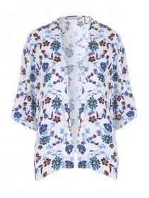 Womens White Floral Kimono