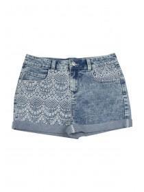 Older Girls Embroidered Panel Denim Shorts