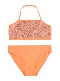 Older Girls Orange Sequined Bikini