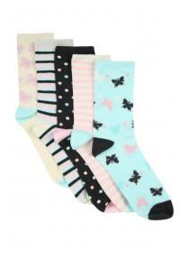 Girls 5Pk Design Socks