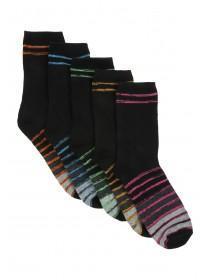 Boys 5PK Black Design Socks