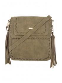 Womens Khaki Whipstitch & Cut-Out Messenger Bag