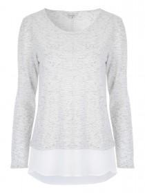 Womens Grey Textured Chiffon Hem Top