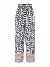 Womens Black Printed Palazzo Trousers