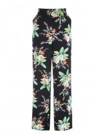 Womens Black Palm Plant Viscose Palazzo Trousers