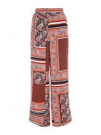 Womens Red Paisley Viscose Trousers