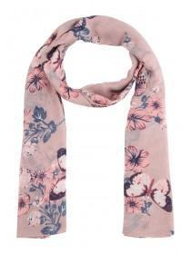 Womens Pink Floral & Butterfly Pashmina Scarf