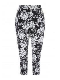 Womens Black Floral Cropped Trousers
