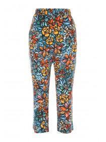 Womens Green Floral Cropped Trousers