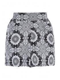 Womens Black Tile Viscose Shorts