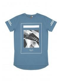 Older Boys Blue City Zip Hem T-Shirt