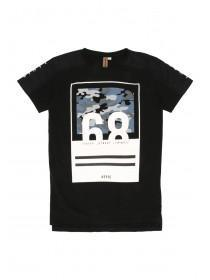 Older Boys Black Camo Panel Long Line T-Shirt