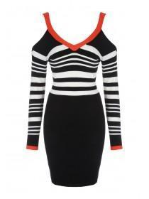 Jane Norman Mono & Red Buckle Shoulder Dress