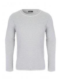 Mens Grey Ribbed Knitted Jumper