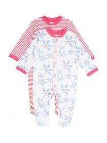 Baby Girls Blue 2PK Large Floral Sleepsuit