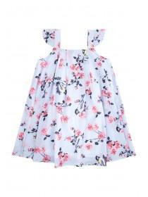 Younger Girls Light Blue Bird Floaty Dress