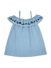 Older Girls Blue Embroidered Bardot Top
