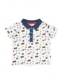 Baby Boys White Retro Polo T-Shirt