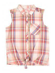 Older Girls Pink Tie Front Check Shirt