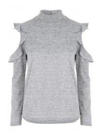 Womens Cut N'Sew Frilled Sleeve Top