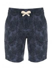 Mens Dark Blue Tropical Leaf Sweat Shorts