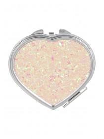 Womens Pink Glitter Compact Heart Mirror