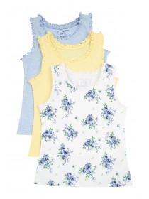Younger Girls 3pk Frill Trim Vests