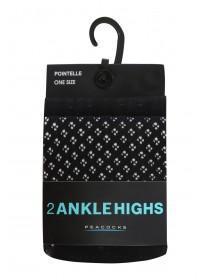 Womens 2PK Black Ankle High Socks