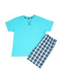 Boys Blue Woven Top & Short Pyjama Set