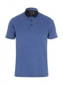 Mens Dark Blue Jacquard Polo Shirt