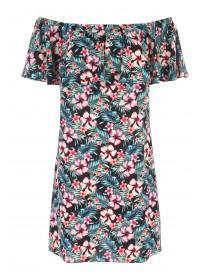 Womens Black Hawaiian Print Frill Bardot Dress