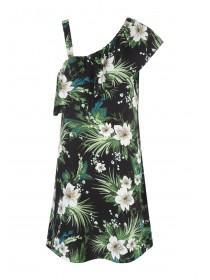 Womens Black Floral Frilled One Shoulder Dress