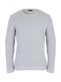 Mens Grey Knitted Textured Stitch Jumper