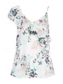 Womens Cream Floral Frill One Shoulder Cami