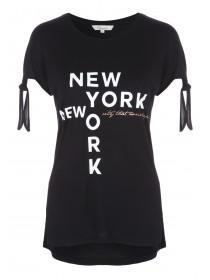 Womens Black Knot Shoulder Slogan T-Shirt
