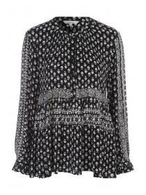Womens Black Mix & Match Cheesecloth Blouse