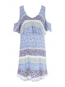Womens Cream Double Layered Dress