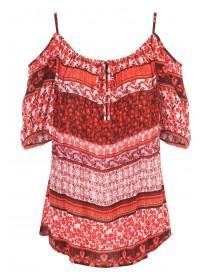 Womens Red Cheesecloth Cold Shoulder Top