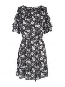 Womens Black Floral Ruffle Cold Shoulder Dress