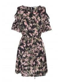 Womens Pink Floral Ruffle Cold Shoulder Dress