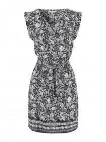 Womens Black Paisley Belted Tunic Dress